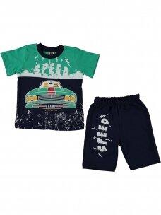 Žali mėlyni marškinėliai ir šortai Speed 1079D214
