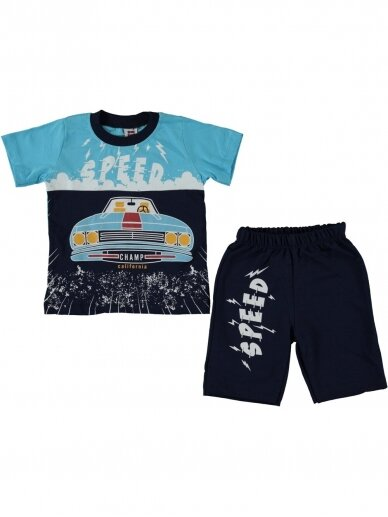 Žydri mėlyni marškinėliai ir šortai Speed 1081D215